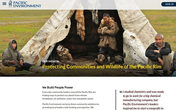 Pacific Environment veebileht.