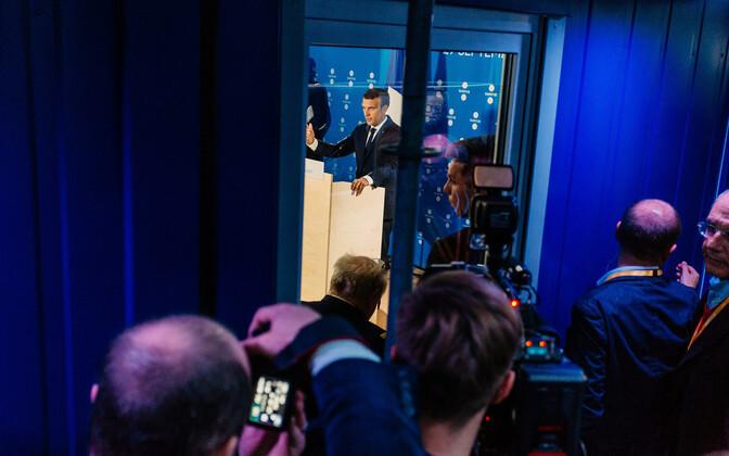 Emmanuel Macron Eesti eesistumise ajal pressikonverentsil Tallinnas