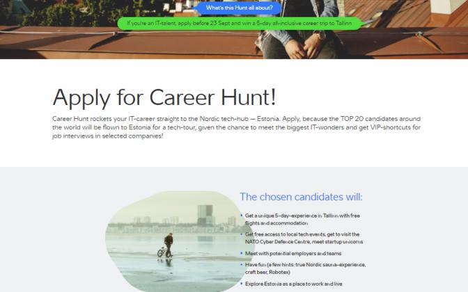 Career Hunt kodulehe kuvatõmmis