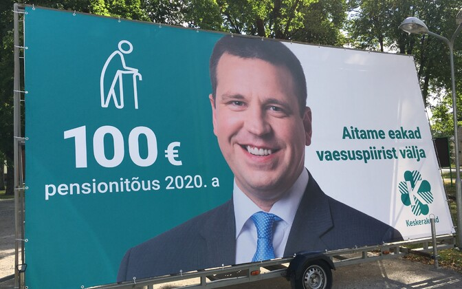 A pre-election Centre Party campaign ad featuring Prime Minister Jüri Ratas and promising a €100 pension increase in 2020.