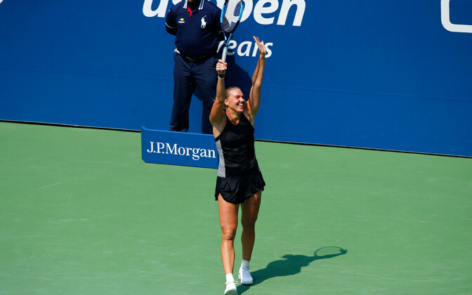 Kaia Kanepi celebrates her second round victory at Flushing Meadows on Wednesday.