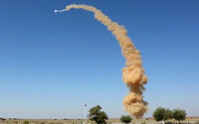 Испытательный пуск российской ракеты системы ПРО в июле 2018 года.