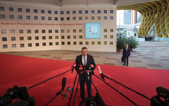Austria kaitseminister Mario Kunasek EL-i kaitseministrite mitteametlikul kohtumisel Viinis 30. augustil.
