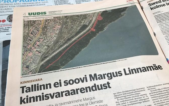 Margus Linnamäe ettevõttele kuuluv krunt kulgeb piki Ülemiste järve serva.