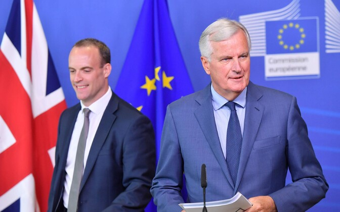 EL-i Brexiti läbirääkija Michel Barnier (paremal) ja Briti Brexiti minister Dominic Raab.