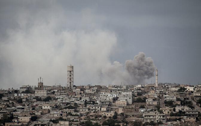 Pommiplahvatus Idlibi provintsis Kafr Nabuda külas.