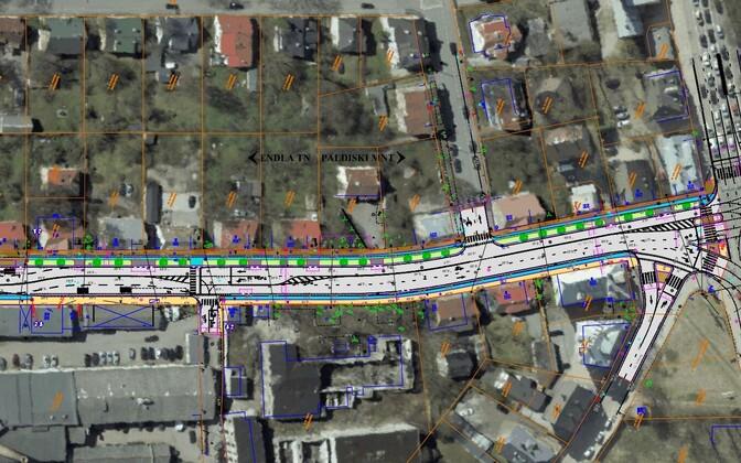 Tulika tänava rekonstrueerimise eskiisiprojekt. Pildi paremas servas on Paldiski maantee ja Tulika tänava ristumiskoht.