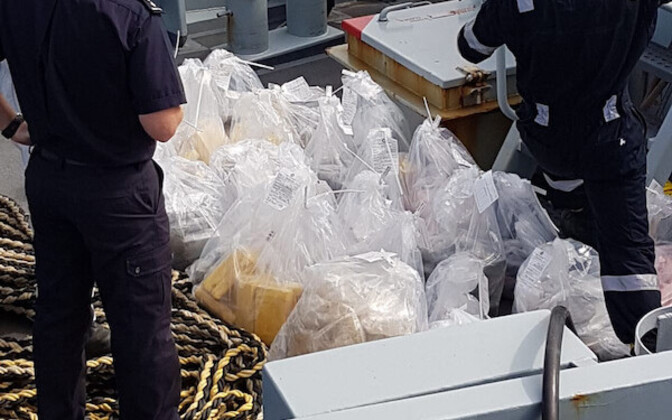 Some of the cocaine found on the Estonian captain's catamaran.