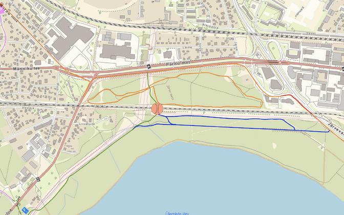 Tallinna Viljandi maantee kergliiklustee ja Järve terviseraja viadukti skeem.