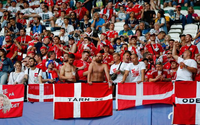 Taani jalgpallikoondise fännid tänavusel MM-il.