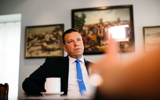 Prime Minister Jüri Ratas during an interview with ERR's Toomas Sildam.