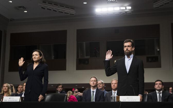 Facebooki tegevjuht Sheryl Sandberg ja Twitteri tegevjuht Jack Dorsey.