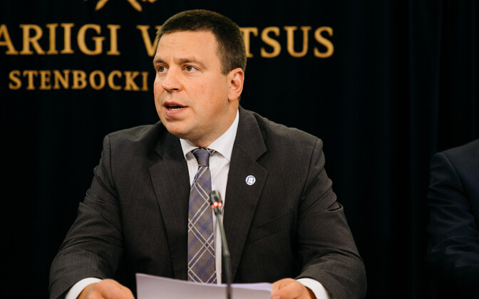 Estonian Prime Minister Jüri Ratas speaking at Thursday's press conference.