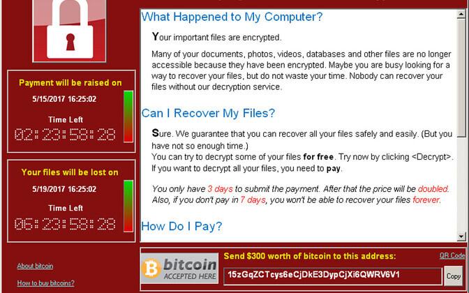 Ekraanipilt WannaCry pahavaraga nakatunud arvutist.