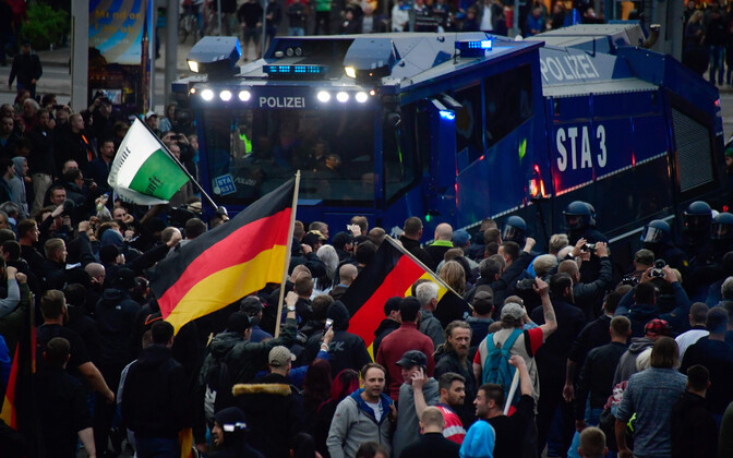 Migratsioonivastaste meeleavaldus Chemnitzi linnas 1. septembril.