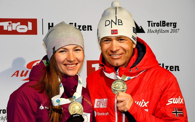 Darja Domratševa ja Ole Einar Björndalen