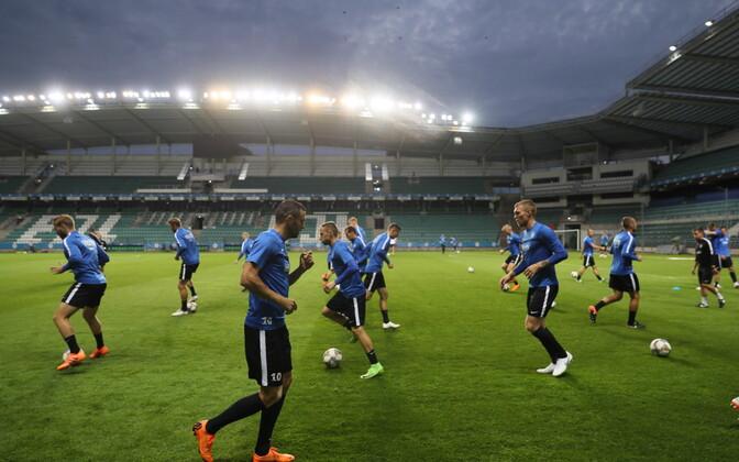 Eesti jalgpallikoondise viimane treening enne UEFA Rahvuste liiga esimest kohtumist