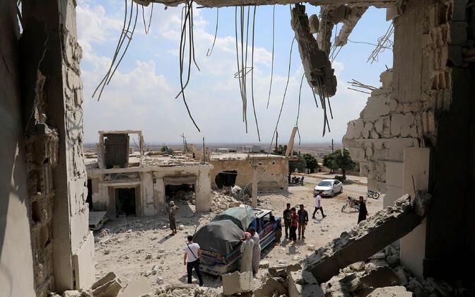 Al-Habiti linn Idlibi provintsis pärast valitsusvägede õhurünnakut.