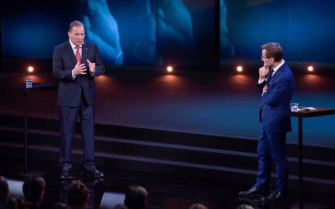 Sotsiaaldemokraadist peaminister Stefan Löfven ja moderaatide liider Ulf Kristersson valimisdebati ajal.