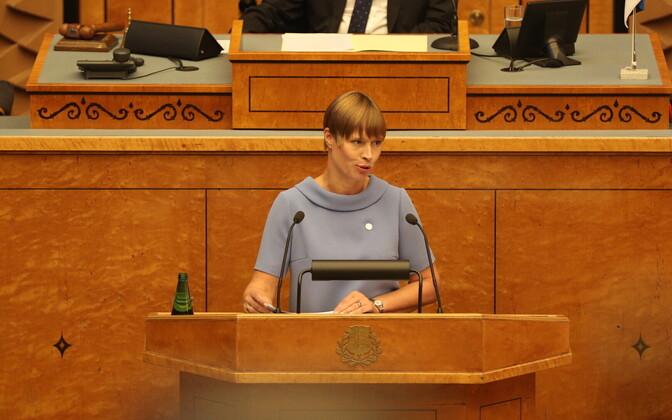 President Kersti Kaljulaid speaking at Monday's opening of parliament.