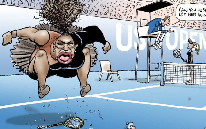 Mark Knighti karikatuur Serena Williamsist.