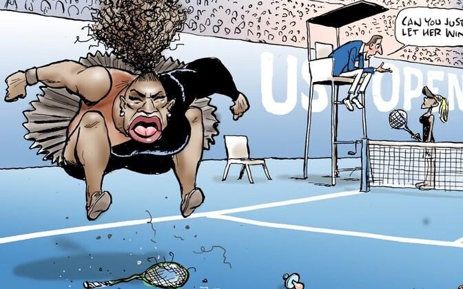 Mark Knighti karikatuur Serena Williamsist on pälvinud kõvasti pahameelt.