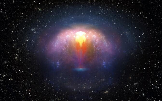 Gravitatsioonilainete allikas GW170817 kunstniku nägemuses.