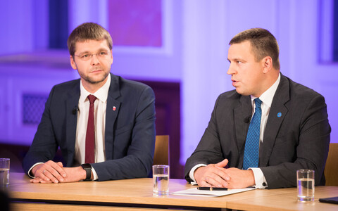 Jevgeni Ossinovski and Jüri Ratas were partners in the previous government coalition.