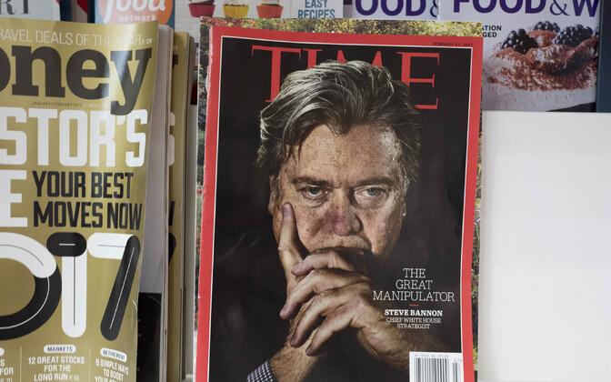 Ajakiri Time lehekioski riiulis.