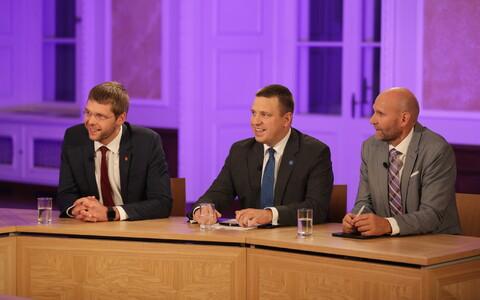 Слева направо: Евгений Осиновский, Юри Ратас и Хелир-Валдор Сеэдер.