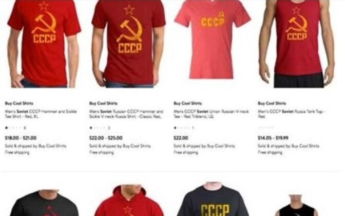 Nõukogude sümboolikaga T-särgid.