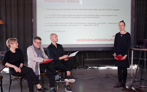 Fotol paremalt: Vaba Lava tegevjuht Kristiina Reidolv, Vaba Lava kuraatorid José Alfarroba ja Tristan Barani ning Marje Kidron Prantsuse Instituudist.