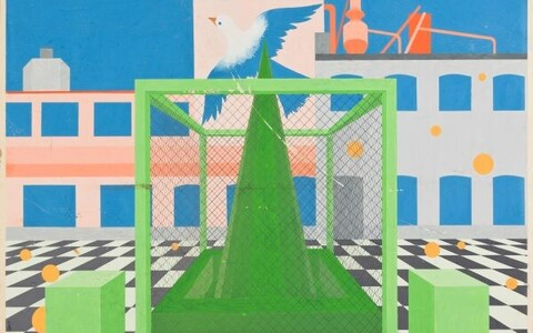 Tallinna kesklinna miljöö kujundamise võimalusi. (Diplomitöö, planšett nr 8) 1975. Guašš, papp. 100 x 100 cm. Eesti Arhitektuurimuuseum