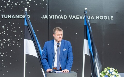 Minister of Justice Urmas Reinsalu speaking at an event commemorating Resistance Day at the Victims of Communism Memorial in Tallinn. 22 September 2018.