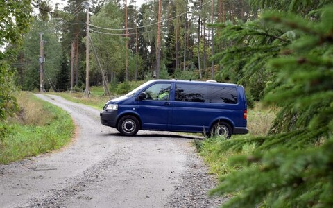 Police van blocks off access during a police operation being conducted in the Turku Archipelago.