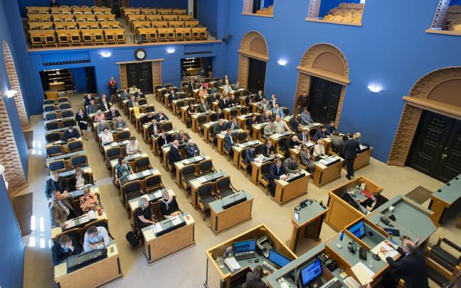 Interior of the Estonian parliament (Riigikogu) main debating chamber.