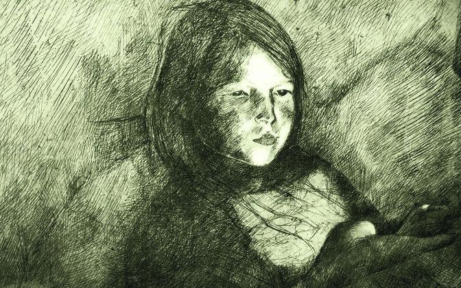 Fotol: Lilli-Krõõt Repnau. Tüdruk nutitelefoni valguses. 2017. Söövitus. 50 × 40 cm.