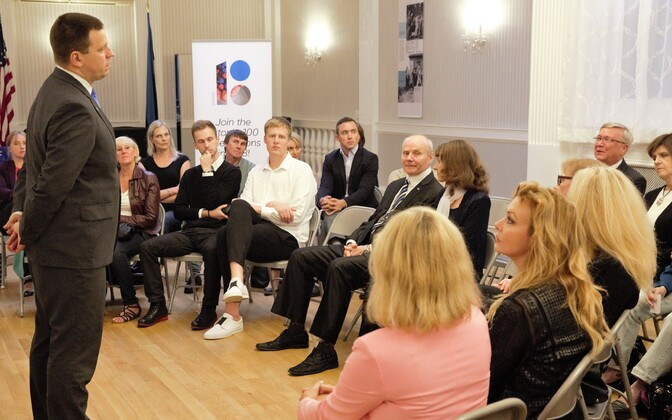 Prime Minister Jüri Ratas met with members of the local diaspora Estonian community at the New York Estonian House on Sunday. 23 September 2018.
