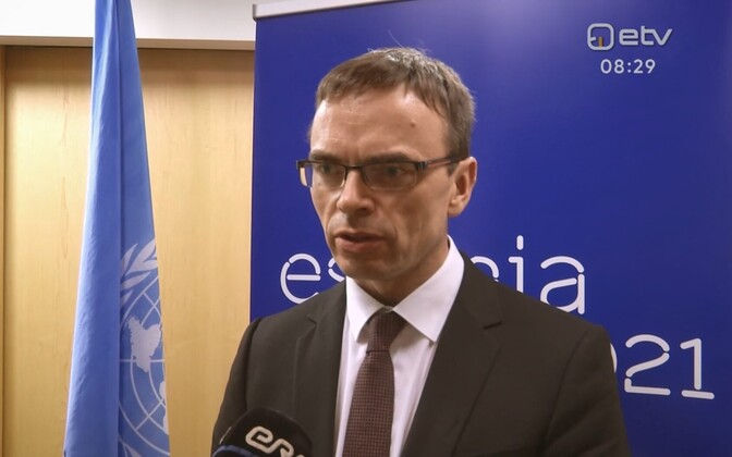 Minister of Foreign Affairs Sven Mikser (SDE) at the UN General Assembly in New York. 25 September 2018.