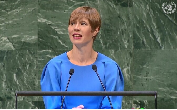 President Kersti Kaljulaid speaking at the UN General Assembly.