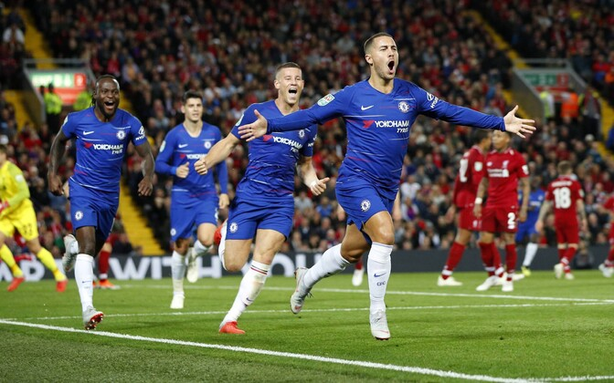 Eden Hazard võiduväravat tähistamas