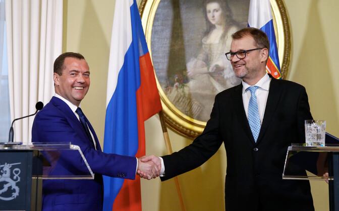 Dmitri Medvedev ja Juha Sipilä 26. septembril Soomes.