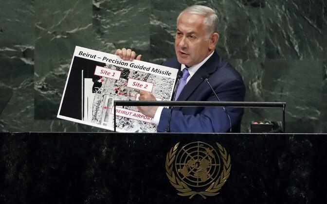 Iisraeli peaminister Benjamin Netanyahu näitas neljapäeval ÜRO peaassambleel kaarte ja pilte Iraani salajasest tuumalaost.