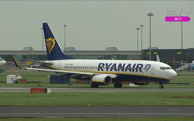 Ryanair plane on runway.