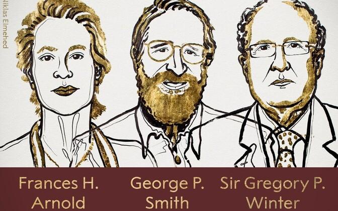 Лауреаты Нобелевской премии по химии  Фрэнсис Х. Арнольд (США), Джорджу П. Смиту (США) и сэру Грегори П. Винтеру (Великобритания).