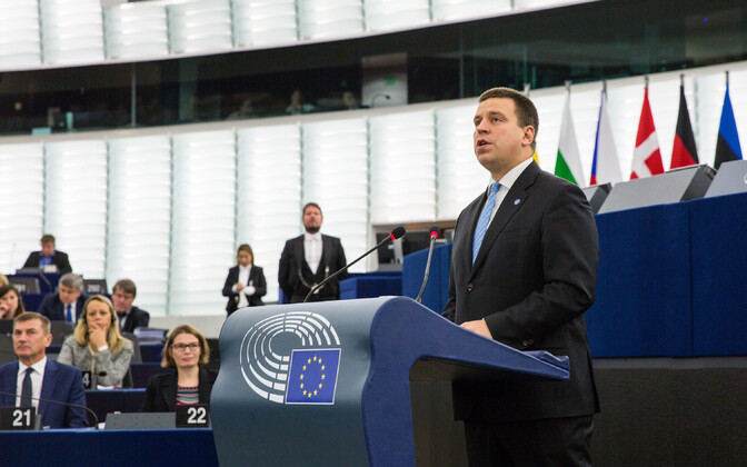 Prime Minister Jüri Ratas (Centre) addressing the European Parliament in Strasbourg on Wednesday. 3 October 2018.