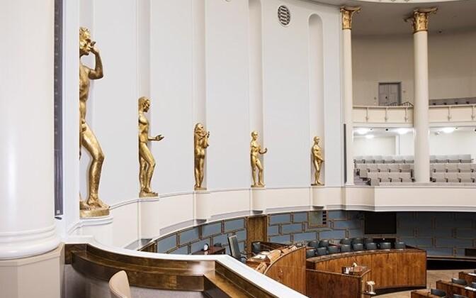 Soome parlamendi (Eduskunta) istungitesaal.
