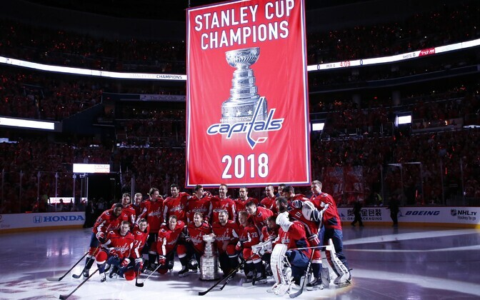Washington Capitals - Boston Bruinsi mängu eel tõmmati üles ka Capitalsi tiitlivõidule pühendatud bänner