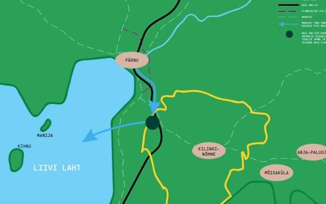 На карте обозначено подходящее место для строительства целлюлозного комбината.
