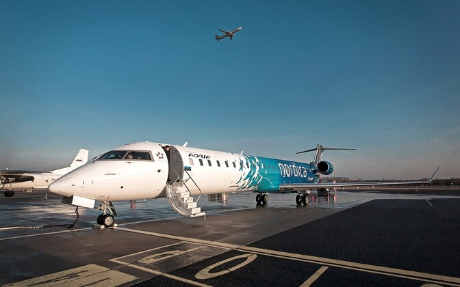 A Bombardier CRJ900 regional jet in Nordica livery.